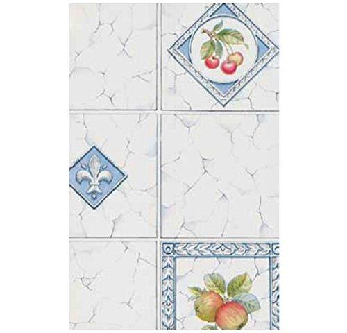 3 Rollen Klebefolie Möbelfolie Dekorfolie Fliese Äpfel Kirschen 45 cm x 200 cm Selbstklebefolie mit Obst Motiv Elementen - dekorative selbstklebende Folie