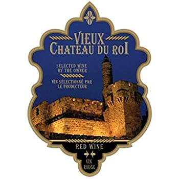 Wine Bottle Labels Pack of 30 Vieux Chateau DU ROI  Blended RED Wine  Blue Background Design Self-Adhesive Peelable