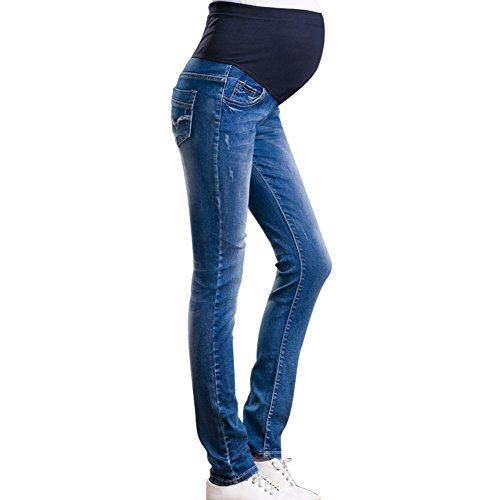 Hzjundasi Damen Weich Umstandshose Leggings Jeans Schwangerschafts Hose mit Bauchband Slim fit