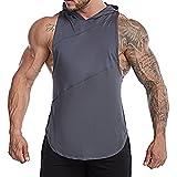 TX Apparel Sudadera sin mangas para hombre, con capucha, sin mangas, de corte seco, para entrenamiento, gris, L