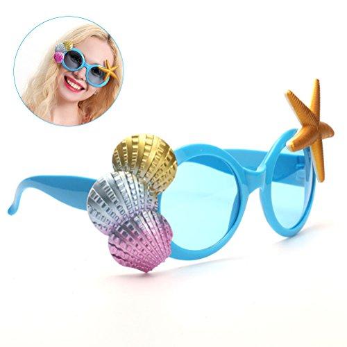 LUOEM Traje de fiesta tropical Gafas de sol conchas marinas y estrellas de mar Gafas de sol Vestido de fiesta accesorio - Boda Luau Hawaii Party Supplies