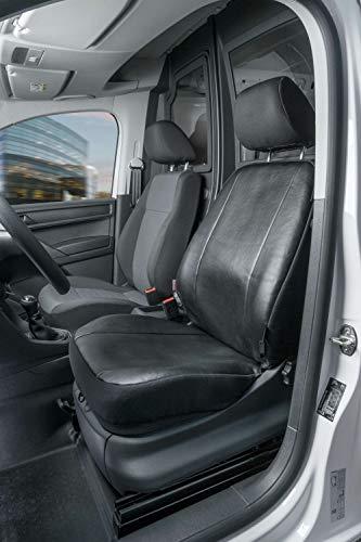 Walser 11517 Autoschonbezüge Transporter Passform, Kunstleder Sitzbezug anthrazit kompatibel mit VW Caddy, Einzelsitz vorne