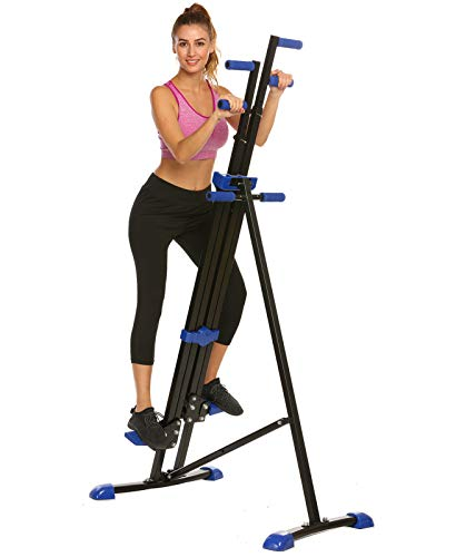 Hurbo Vertical Climber Home Gym Exercise Folding Climbing Machine Exercise Bike for Home Body Trainer Stepper Cardio Workout Training Non-Stick Grips Legs Arms Abs Calf (Blue Black)