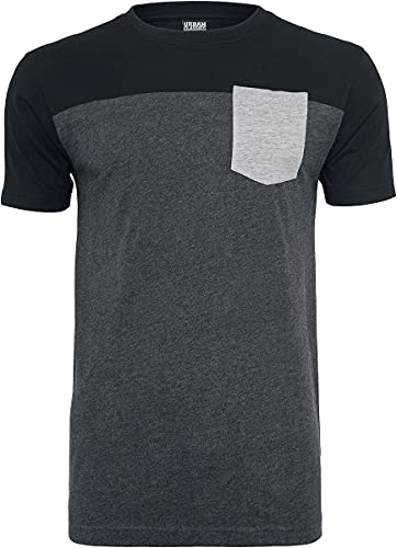 Urban Classics T- Shirt 3-Tone Pocket Tee, Multicolore (Cha/Blk/Gry), (Taille Fabricant: XX-Large) Homme