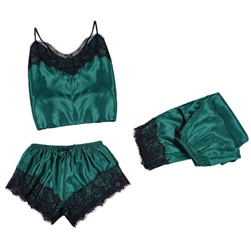 LoveLeiter Damen Satin Nachtwäsche Nachthemd Sexy Dessous Pyjama Set Reizwäsche Ouvert Babydoll Spitze Dessous Split Set Lace Nachtwäsche Lingerie Versuchung Nachthemd