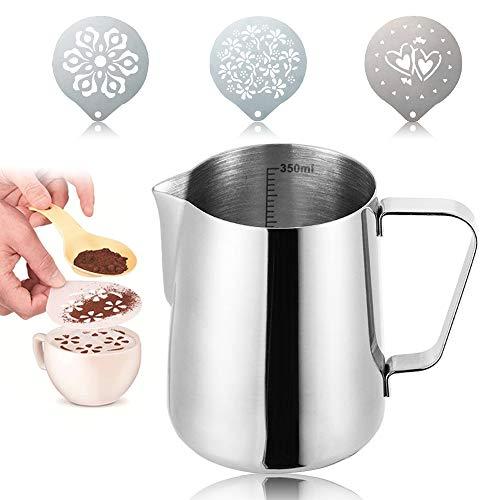 Chingde Lattiera Acciaio Inox, Lattiera Motta brocca di Latte da 350 ml con 3 Pezzi Stampini per caffè per Barista Cappuccino Latte e Forma Decorativa