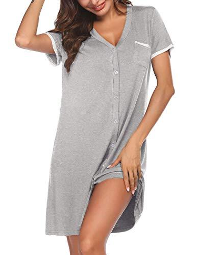 UNibelle Damen Nachthemd Kurzarm Schwangerschaft Sleepshirt kurz Ärmel Nachtkleid V-Ausschnitt Schlafhemd Mit Taschen Stillnachthemd Nachtwäsche aus Modal Nightshirt Grau S