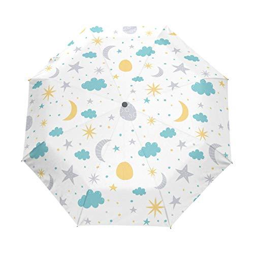 Jeansame Moon Sun Stars Nubes Lunares Paraguas Plegable Compacto Paraguas Automático de...