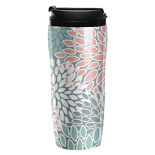 Botella de agua verde azulado y coral patrón floral viajes tazas de café tazas con tapa