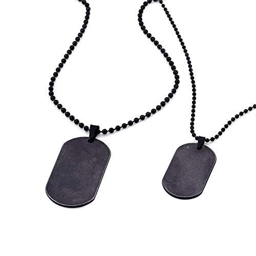 KnBoB Edelstahl Halskette für Herren Paar Schwarzes Rechteck-Tag Anhänger