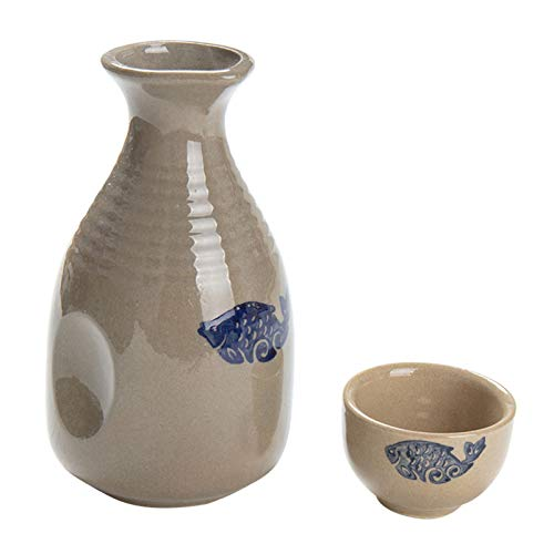 SHENGYUAN Juego de Sake Japonés de Cerámica,5 Piezas Set de Porcelana, Tazas de Cerámica Tradicionales, Manualidades Copas de Vino,1 Pot 4 Cups