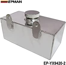 EPMAN Universal 2 Litre Alloy Intercooler Water Spray Tank Bottle & Cap Kit Track Car (Silver)