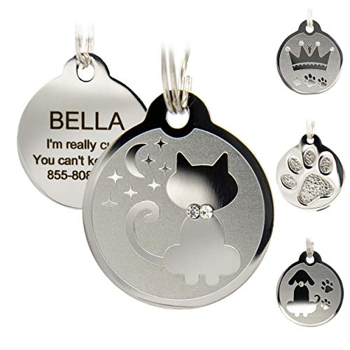 Designer Custom Engraved Stainless Steel Pet ID Tags - Engraved Personalized Identification Durable & Long Lasting Dog Tags , Cat Tags