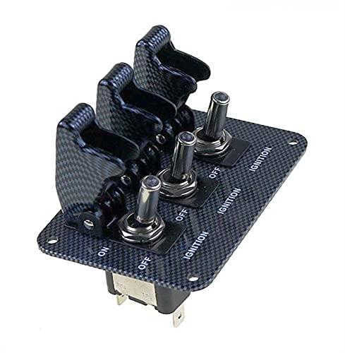 Flyuzi Cubierta de Carbono DC12V-20A LED Interruptor Indicador Interruptor de combinación Cabello de la Superficie de la Fibra de Carbono