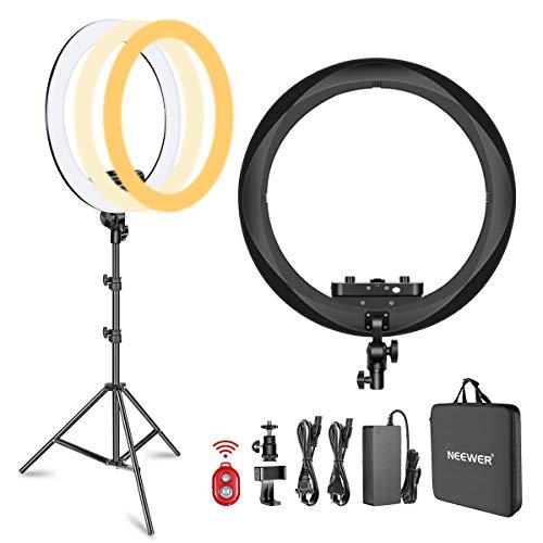 Neewer Kit Anillo Luminoso(Espesor 1,8cm) 48cm 3200–5600K LED Ring Light con Soporte de Luz Soporte de Teléfono Móvil Tablet Montura Zapata para Retratos Videos de Maquillaje(Negro)