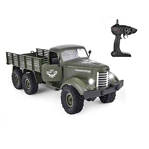 AEDWQ Remote Control Toy Car 1:16 Scale 6WD RC Off-Road Car Military Truck Inclined Plane Differential/Shock Absorbers/Speed Conversion Best Gift for Children and Adults (Color : Army Green)