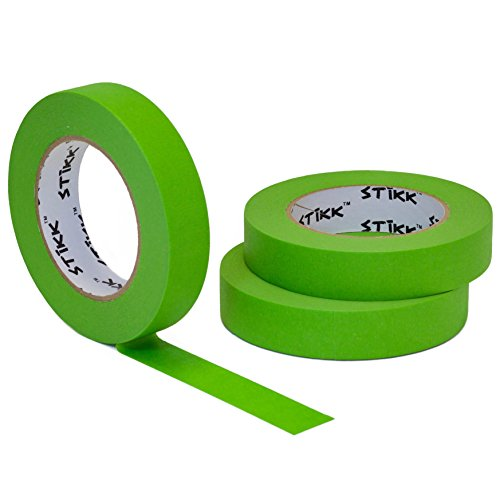 "3 Pack 1"" x 60yd STIKK Green Painters Tape 14 Day Easy Removal Trim Edge Finishing Masking Tape (.94 in 24MM)"
