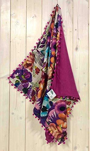 Toalla Kikoy Boho Flowers con pompón de 90 x 170 cm, toalla de playa de rizo Pareo (Fucsia)