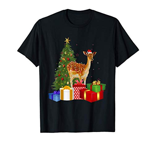 Santa Deer Christmas Tree With Light Funny Xmas Deer T-Shirt