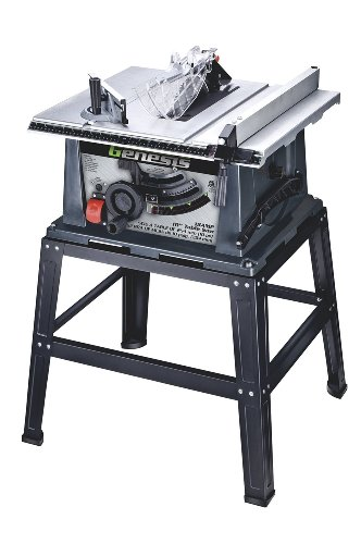 Genesis GTS10SB 10' 15 Amp Table Saw with Self-Aligning Rip Fence, Oversized Sliding Miter Gauge, Rocket Power Switch, 40T Carbide-Tipped Blade, and Heavy-Duty Metal Stand