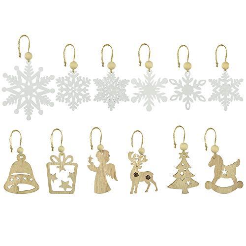 KLYNGTSK 12 Pezzi Ornamenti Natalizi Addobbi per Albero di Natale Ornamento di Fiocco di Neve Tag Natale Decorazioni Natalizie in Legno per Albero di Natale Regalo Biglietti Natalizi, Diametro 7CM