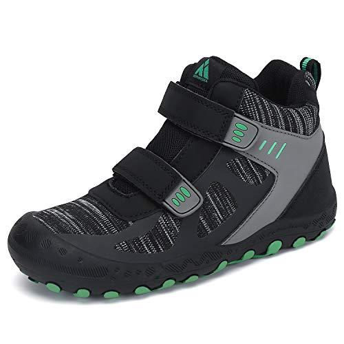 Mishansha Kids Hiking Boots Safe Boys Girls Hiking Shoes Outdoor Trekking Walking Ankle Booties Knit Black Big Kid 4