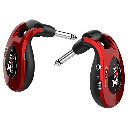 Xvive U2 - Sistema Wireless per Chitarra, Basso e altri strumenti, ricaricabile 2.4GHz, Trasmettitore/Ricevitore digitale, colore: Rosso Metallizzato