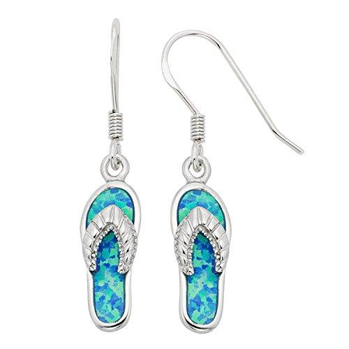 Sterling Silver Created Blue Opal Flip-Flop Earrings