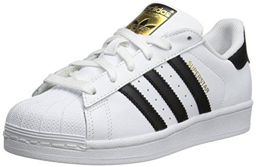 adidas Superstar Low Top - Zapatos con cordones para mujer, color blanco/negro, 8,5 B (M) US