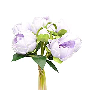 Silk Flower Arrangements Angel Isabella, LLC Real Touch Peony Bouquet - 6 Blooms 2buds PU Life-Like Realistic Touch Artificial Flowers for Decor, Wedding, Crafts (Soft Lavender)