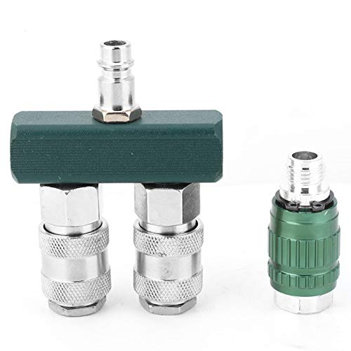 Para conector de compresor, conector rápido americano bidireccional recto de 1/4 de pulgada + conector macho hembra de válvula ajustable