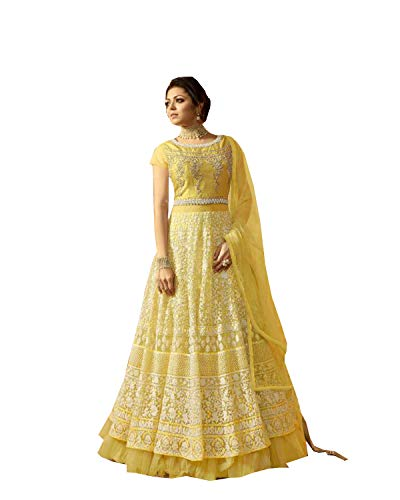 Delisa IndianPakistani Wear Anarkali Suit and Party Wear Suit for Women (Yellow, XL-44)