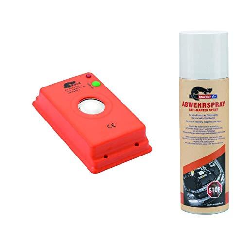 MarderFix - Akustik Batterie Inklusive Abwehrspray -Marderabwehr im Auto, Haus und Hof