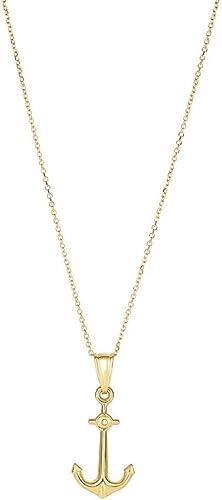 14  Gold 25 10mmmed Anker Anh er 14 T Gold 0,8  Kabel Kette Karabinerverschluss Halskette 46 ntime
