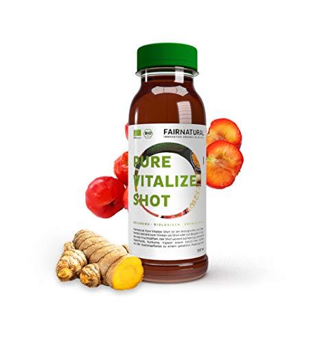 Fairnatural NEU Superfood Vitalize Shot [Made in Germany] Bio Apfelessig, Ingwer, Acerola, Kurkuma, Grünteeextrakt etc. I Für Diät, Verdauung als Entzündungshemmer und zum Immunsystem stärken (250ml)
