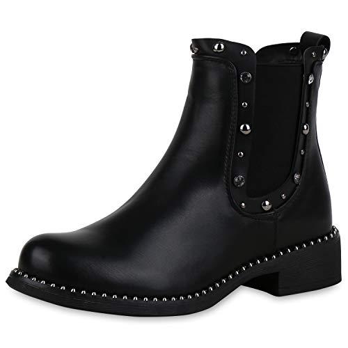 SCARPE VITA Damen Stiefeletten Chelsea Boots Leicht Gefütterte Booties Nieten 169738 Schwarz Strass Leicht Gefüttert 37