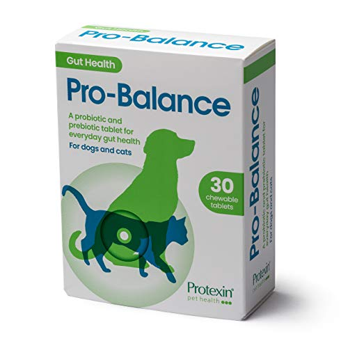 Protexin Pet Health Pro-Balance Probiotic for Dogs and Cats – Daily Chewable Probiotic and Prebiotic Tablet for Digestive Health Support – Pack of 30