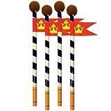 Crayons de Mike le chevalier avec la gomme et Flag (pack de 6)