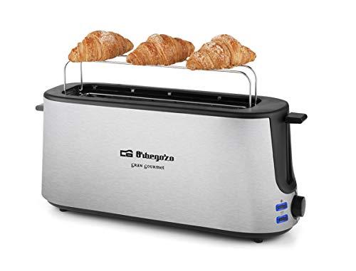 Orbegozo TO 6020 - Tostadora pan, Ranura Larga, Calienta Panecillos, 7 Niveles de Tostado, Descongelación y Recalentamiento, 1000 W