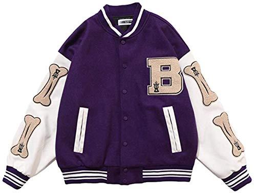 LucaSng Herren College Baseball Jacke Sweatjacke Sportjacke Classics Baseball Jacke Unisex Mode Streetwear (Lila, M)