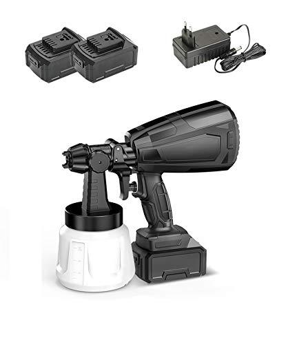 TYI -Máquina Pulverizadora Pintura, Pistola Pulverizadora Eléctrica Doméstica, Fácil De Pulverizar Y Limpiar, 1000 W, 5 Boquillas Cobre, Apta para Jardinería (Batería Dual + Cargador)