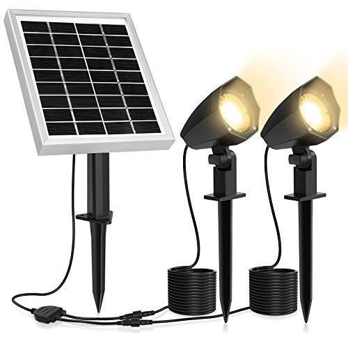 MEIHUA Solar Strahler 2 Stück Solar Gartenleuchte IP66 wasserdichte, Solarlampen für außen, mit Erdspieß, für Gärten, Sträucher und Bäume Warmweiß