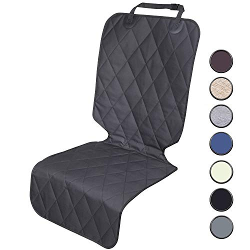 Vivaglory Dog Seat Covers for Front Seat with No-Skirt Design, Quilted & Durable 600 Denier Oxford 4 Layers Pet Seat Protectors with Anti-Slip Backing for Most Cars, SUVs & MPVs, Black