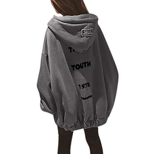 VJGOAL Long Sweat Femme Oversize T-Shirt Casual Manche Large Sweatshirt Fille Lettre Imprimer Classique Manteau Hiver Grande Taille Chaud Épaissir Veste en Vrac Zipper Blouson M-2XL