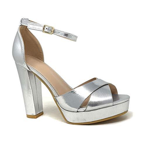 Angkorly - Chaussure Mode Escarpin Sandale soirée Glamour Plateforme Femme Lanières croisées métallique Talon Haut Bloc 11 CM - Argent 2 - B-93 T 41