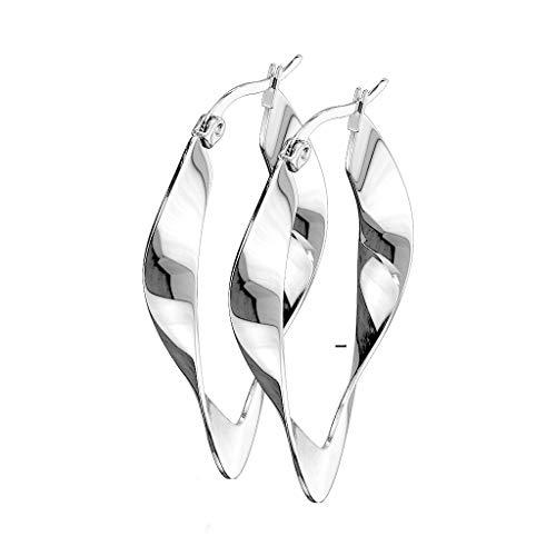 beyoutifulthings - 1 paio di orecchini a cerchio, da donna, linea irregolare, design ovale, in acciaio chirurgico, multicolore e Acciaio inossidabile, colore: metallic, cod. SE3546-40-ST