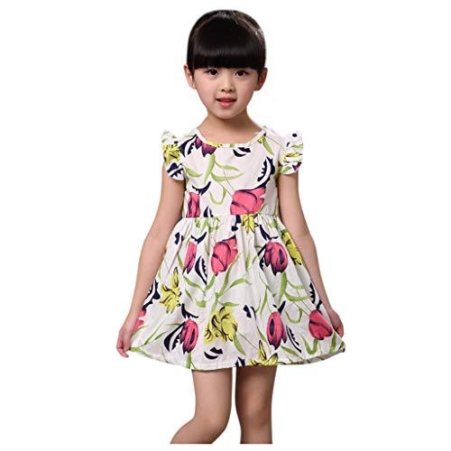 Janly Clearance Sale Vestido para niñas de 0 a 10 años de edad, a la moda para niña con mosca y estampado de flores, vestido de princesa, es, blanco, 18-24 meses