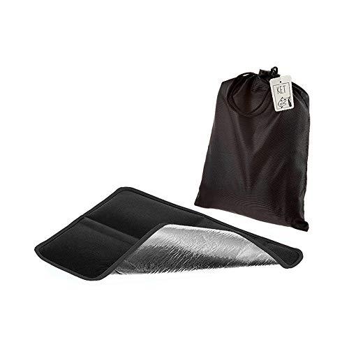 Alu Isolier Sitzkissen | Faltbares Iso-Sitzkissen | gepolstertes Thermo Kissen mit praktischer Tasche für Outdoor, Camping und Wandern (schwarz)