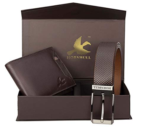 Hornbull Gift Set for Men's - Brown Wallet and Brown Belt Men's Combo Gift Set 6985