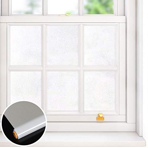 VEELIKE Vinilo Privacidad Película Blanco Electrostática Película para Ventana Película Pegatinas Esmeriladas para Ventana Control de Calor Anti UV para Dormitorio Baño Oficina Armario 40cm x 300cm